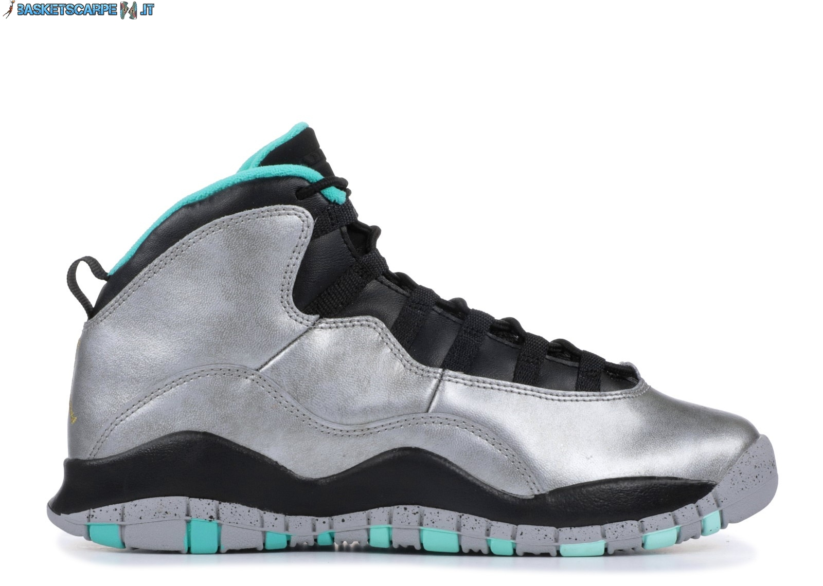 "Sconto Scarpe Da Ginnastica Air Jordan 10 Retro 30Th (Gs) ""Lady Liberty"" Metallico Argento (705179-045)"