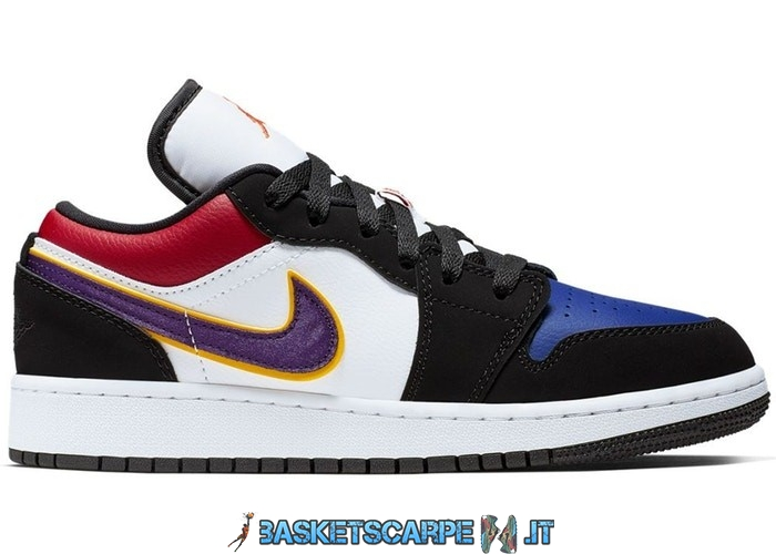 "Sconto Scarpe Da Ginnastica Air Jordan 1 Low (GS) ""Lakers"" Top 3 Nero Porpora (553560-051)"